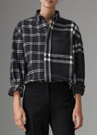 [Wool&cotton] Half check shirt - 2 color
